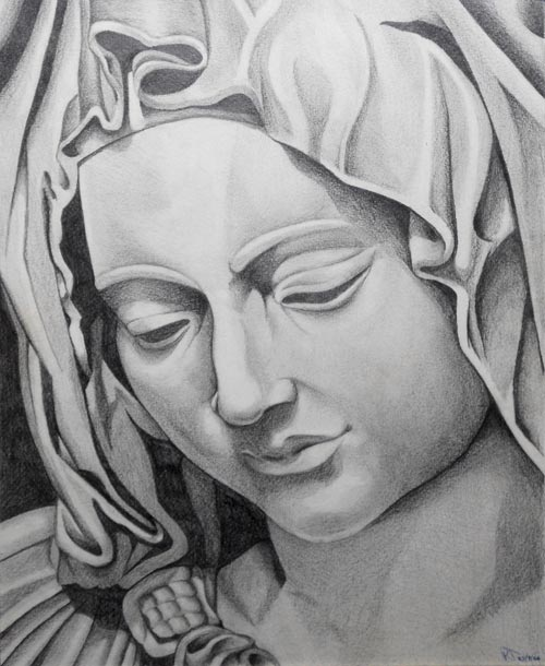 Madonna statue drawing